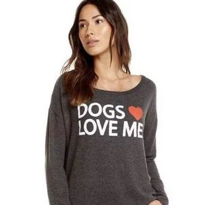 NWT Chaser Grey Dogs Heart Me Long Sleeve Shirt